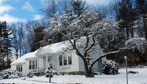 Rowe Town Library: exterior of library under snow