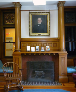 Dickinson Memorial Library: fireplace and mantle
