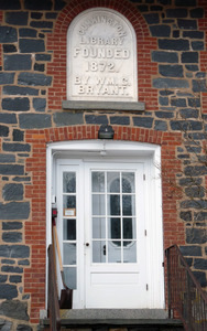 Bryant Free Library: front entrance with commemorative plaque