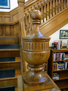 Dickinson Memorial Library: newel and bannister on staircase