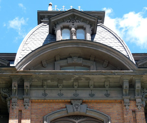 North Adams Public Library: exterior view of upper floors and roof
