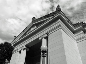 Field Memorial Library: view looking up at the front entrance