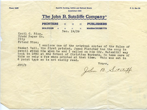 John B. Sutcliffe letter to Cecil C. Rice