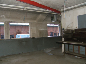 Interior view: work bench and view out windows toward Mullins Center