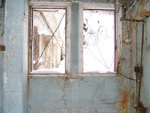 Interior view: looking north through window at side of barn