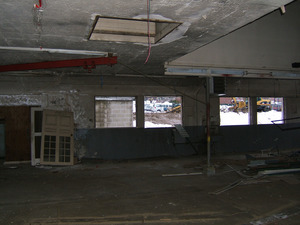 Interior view: looking through windows with Dickinson Hall in background