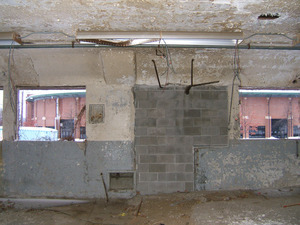 Interior view: looking out through window, Mullins Center in background