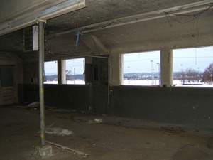 Interior view: windows looking out over athletic fields