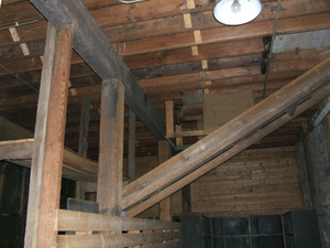 Interior view; posts, beams, and joists