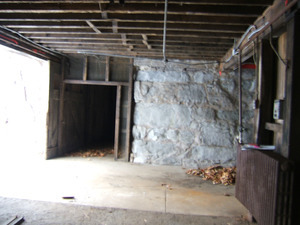 Interior view of entryway into the barn