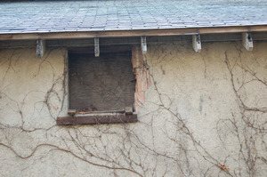 Boarded up window, Cow Barn complex
