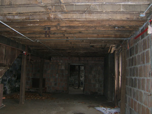 Interior view of room with joists for upper floor