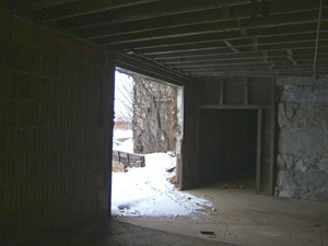 View looking out the basement doorway