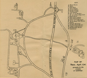 Map of Mass. Agrl. Col. grounds in the vicinity of buildings