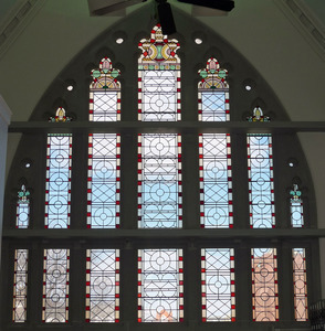 Former Berkshire Athenaeum: James A. Bowes Building – Pittsfield Probate Courthouse: stained glass window viewed from interior