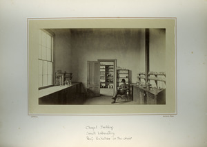 Chapel Building, small laboratory, Prof. Penhallow in the chair, Massachusetts Agricultural College