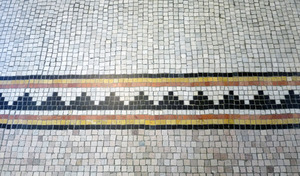 Dickinson Memorial Library: close-up of tile work