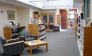 Buckland Public Library: interior view of casual seating area