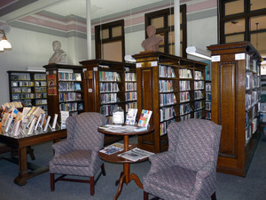 Belding Memorial Library: interior seating area and bookcases