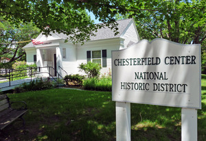 Chesterfield Public Library: view of sign for Chesterfield Center National Historic District with library in the background
