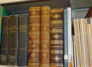 Buckland Public Library: close-up of antiquarian books