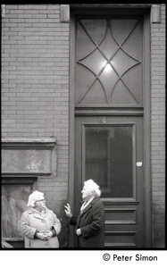 Elderly women talking with one another, Beacon Hill