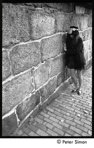 Sarah leaning against a stone wall, Beacon Hill