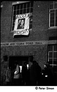 African American occupiers in front of Ford Hall and banner proclaiming 'Malcolm X University': white student support for Brandeis University African American student protest