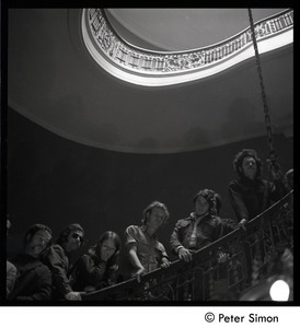 Antiwar protesters occupying University Hall, Harvard (?):occupiers on the stairway