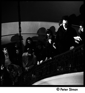 Antiwar protesters occupying University Hall, Harvard (?): student occupiers on a stairway