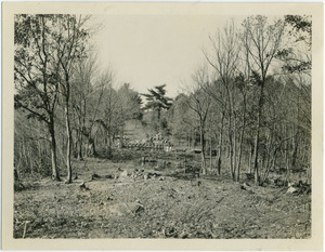 Construction of bridge and spillway over Skug River, Harold Parker State Forest