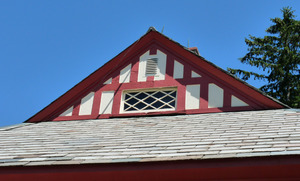 M. N. Spear Public Library, Shutesbury Mass.: detail of front gable end