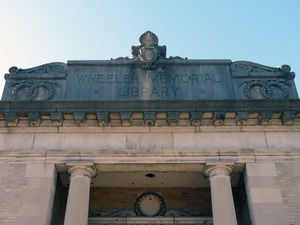 Wheeler Memorial Library, Orange, Mass.: architectural detail over front entrance