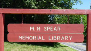 M. N. Spear Public Library, Shutesbury Mass.: library signage