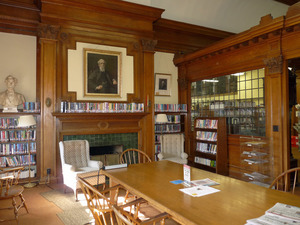 Wheeler Memorial Library, Orange, Mass.: interior view of reading room