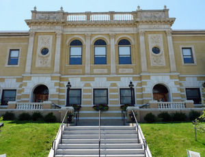 Adams Free Library: view of the front steps and entrance