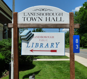 Newton Memorial Town Hall, Lanesborough, Mass.: sign for town hall and library