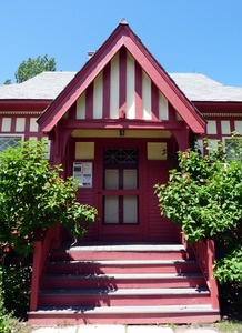 M. N. Spear Public Library, Shutesbury Mass.: close-up of front entrance