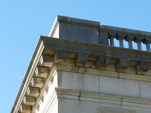 Wheeler Memorial Library, Orange, Mass.: detail of corner of roofline