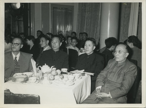 Guo Moruo with three unidentified Chinese officials