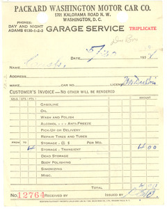 Invoice from Packard Washington Motor Car Co.