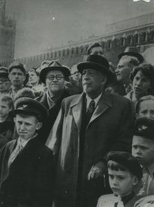 W. E. B. Du Bois standing in a crowd