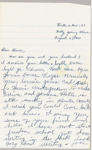 Letter from Imogene Reaves to Gloria Xifaras Clark