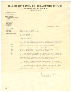 Letter from Commission to Study the Organization of Peace to W. E. B. Du Bois