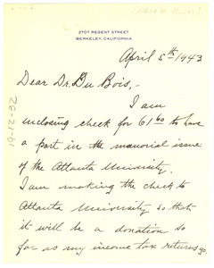 Letter from Alfred W. Hincks to W. E. B. Du Bois