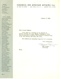 Circular letter from Council on African Affairs to W. E. B. Du Bois