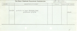 Check from Daily Compass to W. E. B. Du Bois