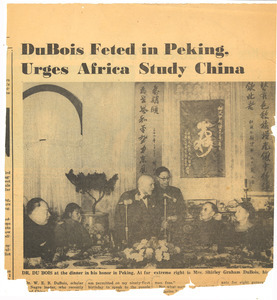 DuBois feted in Peking, urges Africa study China