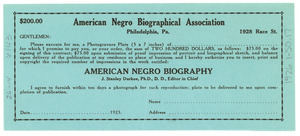 $200 contract for photogravure plate portrait in the American Negro Biography
