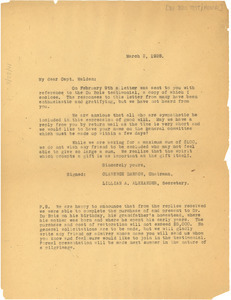 Circular letter from Du Bois Testimonial Committee to A. T. Walden